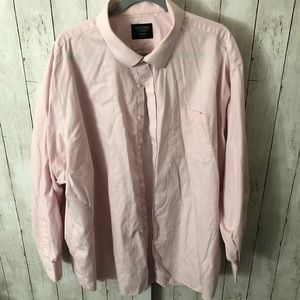 Pink long sleeve button down 20in neck